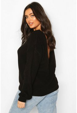 Plus V-Back Oversized Jumper, Black schwarz