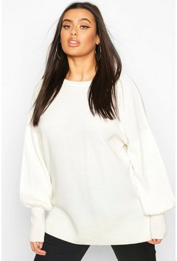 Cream white Plus Oversized Balloon Sleeve Jumper