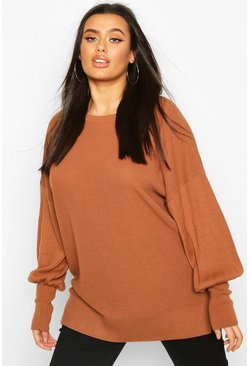 Tobacco brown Plus Oversized Balloon Sleeve Jumper