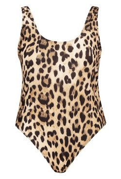 Brown Plus Leopard Scoop Swimsuit