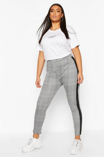 Black Plus Contrast Check Jaquard Treggings