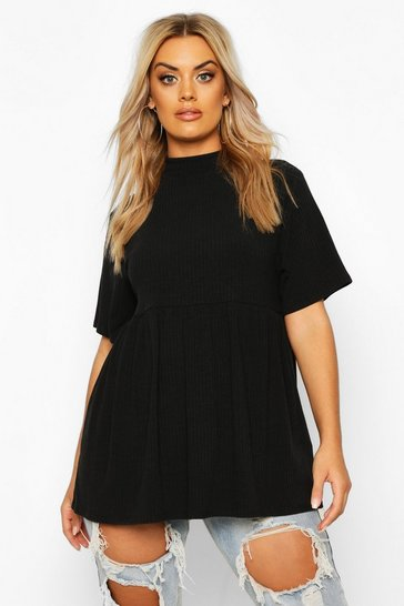 Black Plus High Neck Rib Knitted Smock Top