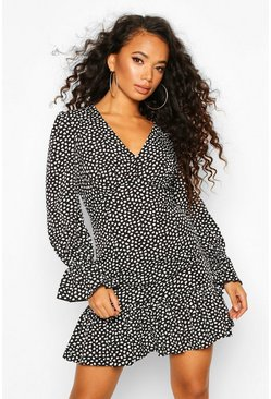 Black Petite Smudge Print Volume Sleeve Mini Dress