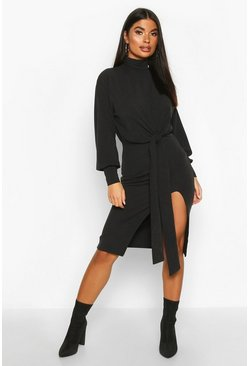 Black Petite Roll Neck Tie Detail Rib Midi Dress