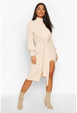 Stone beige Petite Roll Neck Tie Detail Rib Midi Dress