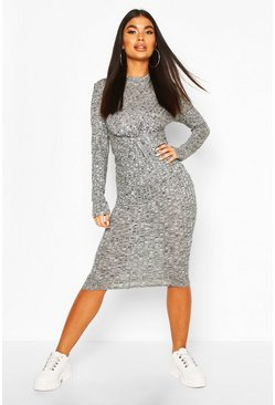 Charcoal grey Petite Knitted Rib Knot Front Midi Dress