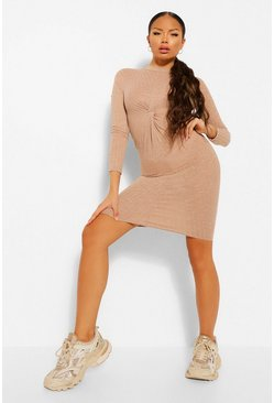 Sand beige Petite Knitted Rib Knot Front Midi Dress