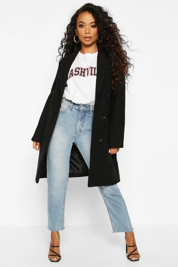 Black Petite Double Breasted Wool Look Coat