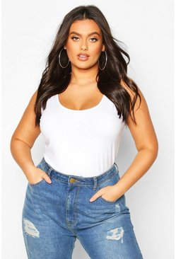 White Plus Basic Scoop Neck Singlet Top