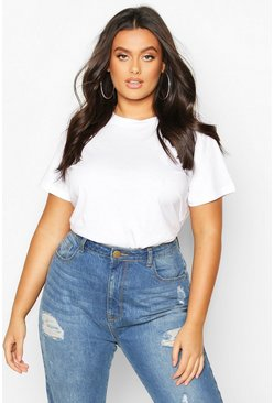 White Plus Basic Scoop Neck T-Shirt