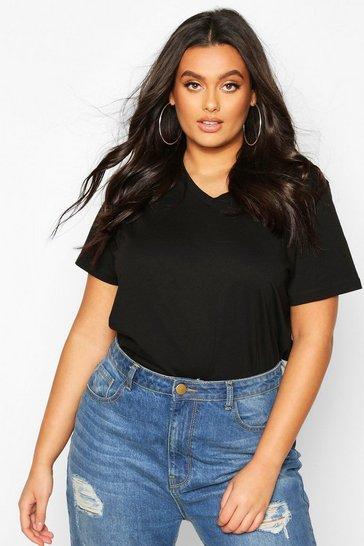 Black Plus V Neck Basic T-Shirt