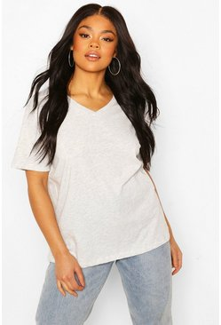 T-shirt basique col V Plus, Gris chiné gris