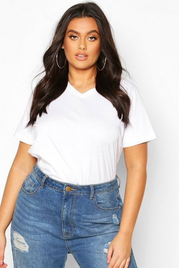 White Plus V Neck Basic T-Shirt