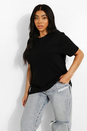 Black Plus Round Neck Cotton T Shirt
