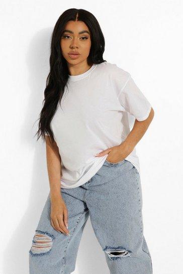 White Plus Round Neck Cotton T Shirt