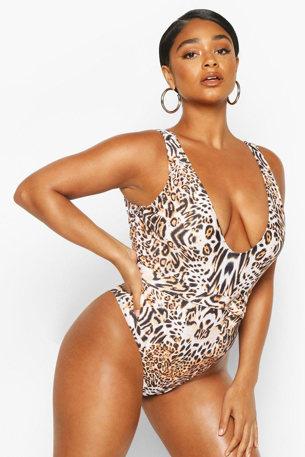 Plus Leopard Belted Scoop Swimsuit 8