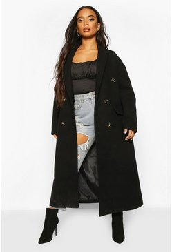 Petite Wool Look Double Breasted Long Line Coat, Black negro