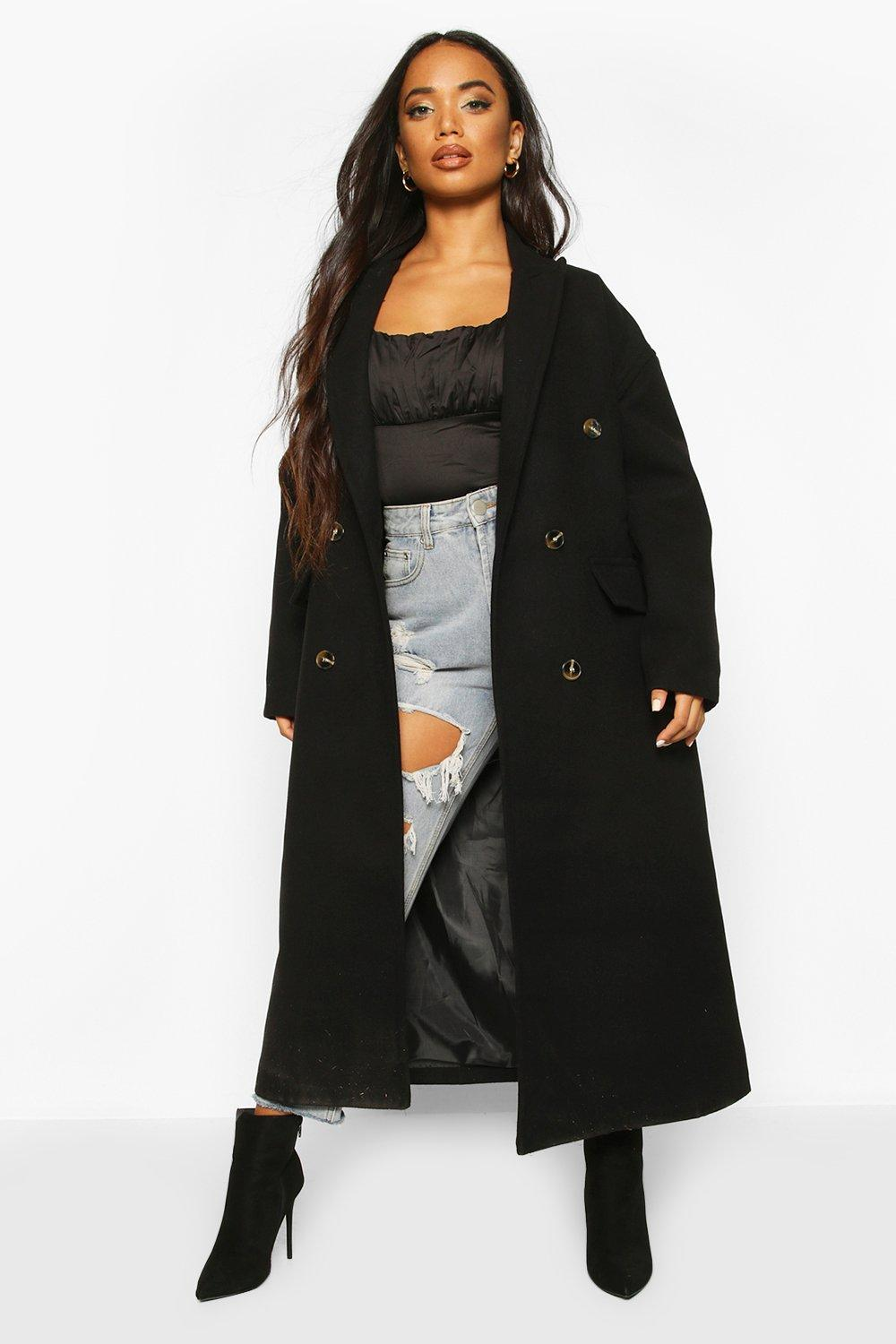 Petite Wool Look Double Breasted Long Line Coat | Boohoo