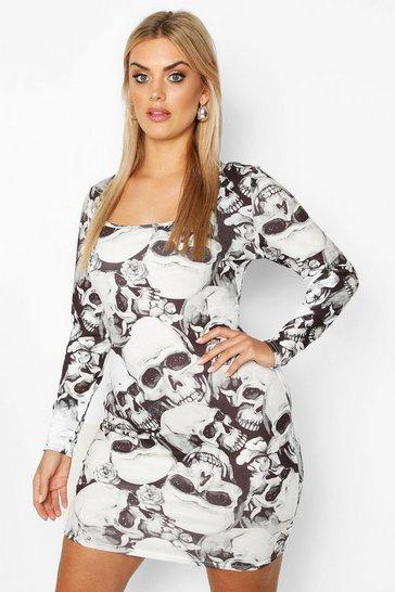 Black Plus Skeleton Square Neck Bodycon Dress