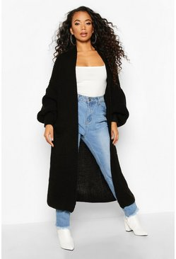 Black Petite Longline Balloon Sleeve Knitted Cardigan