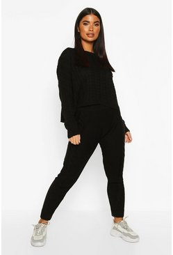 Black Petite Cable Knit Jumper & Jogger Co-Ord
