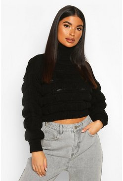 Black Petite Bubble Knit Roll Neck Jumper