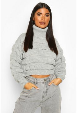 Grey Petite Bubble Knit Turtleneck Sweater