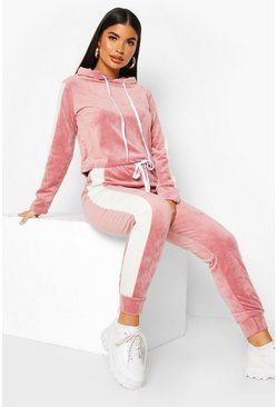 Pale pink pink Petite Sport Stripe Velour Tracksuit