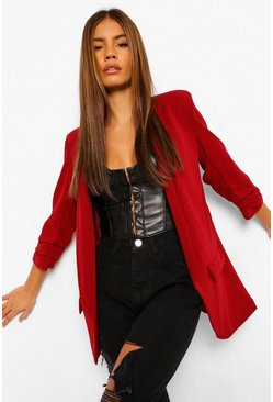 Berry Petite Ruched Sleeve Blazer