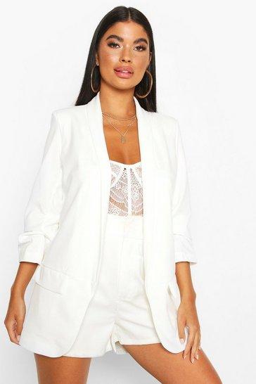 Ivory white Petite Ruched Sleeve Blazer