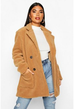 Camel beige Petite Double Breasted Teddy Coat