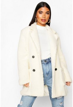 Ivory white Petite Double Breasted Teddy Coat