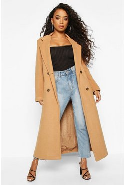 Camel beige Petite Belted Double Breasted Wool Look Coat