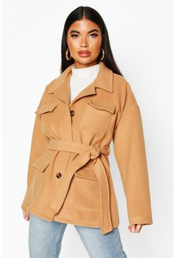 Camel Petite Wool Look Belted Utility Jacket