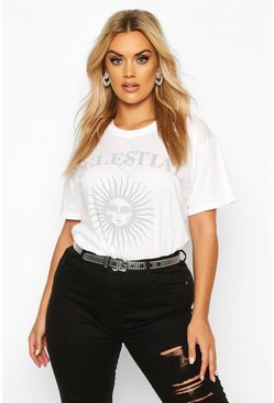 White Plus Celestial Sun and Moon Slogan T-Shirt