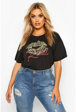Black Plus Leopard Lips Rebel Slogan T-Shirt