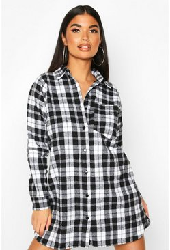 Black Petite Pocket Detail Flannel Shirt Dress