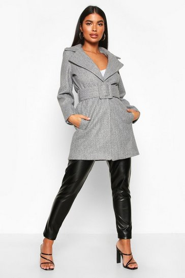 Petite Self Belted Wool Look Coat