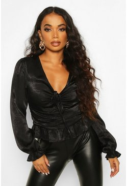 Black Petite Hammered Satin Ruched Front Blouse