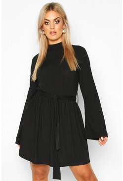 Black Plus Jumbo Rib Flare Sleeve Tie Waist Skater Dress