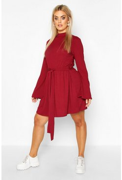 Wine red Plus Jumbo Rib Flare Sleeve Tie Waist Skater Dress