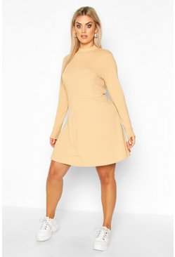Camel beige Plus Jumbo Rib Long Sleeve Smock Dress