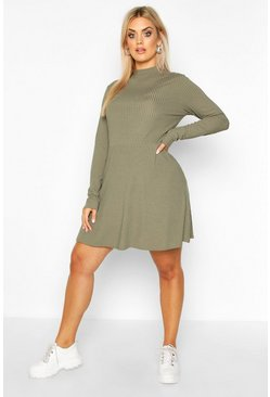 Khaki Plus Jumbo Rib Long Sleeve Smock Dress