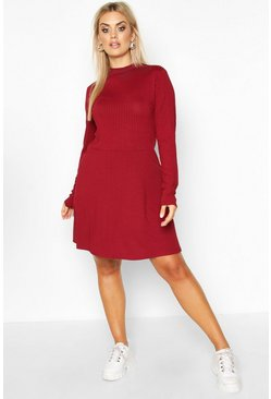 Wine Plus Jumbo Rib Long Sleeve Smock Dress