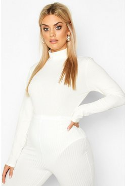 Cream white Plus Jumbo Ribbed High Neck Bodysuit