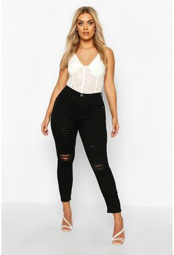 Plus High-Waist Skinny Jeans in Destroyed-Optik mit Rissen am Knie, Schwarz