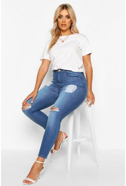 Mid blue blue Plus Distressed High Waist Skinny Jeans