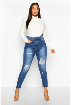 Plus Distressed High Waist Skinny Jeans, Light blue azul