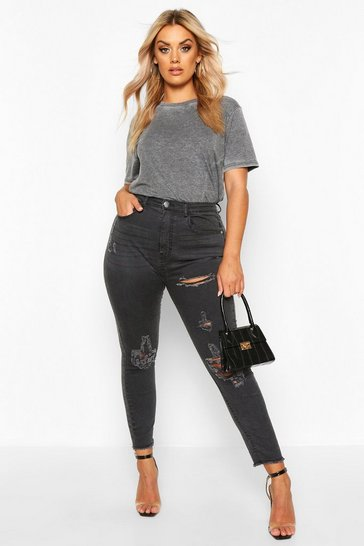 Black Plus Super Distressed Raw Hem Skinny Jeans