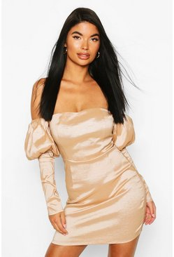 Petite Extreme Puff Sleeve Mini Dress, Champagne beis